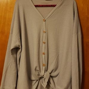 Button down waffle knit top